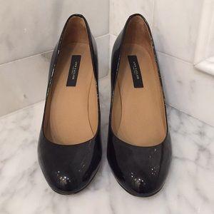 Ann Taylor Black Patent Almond Toe Heels
